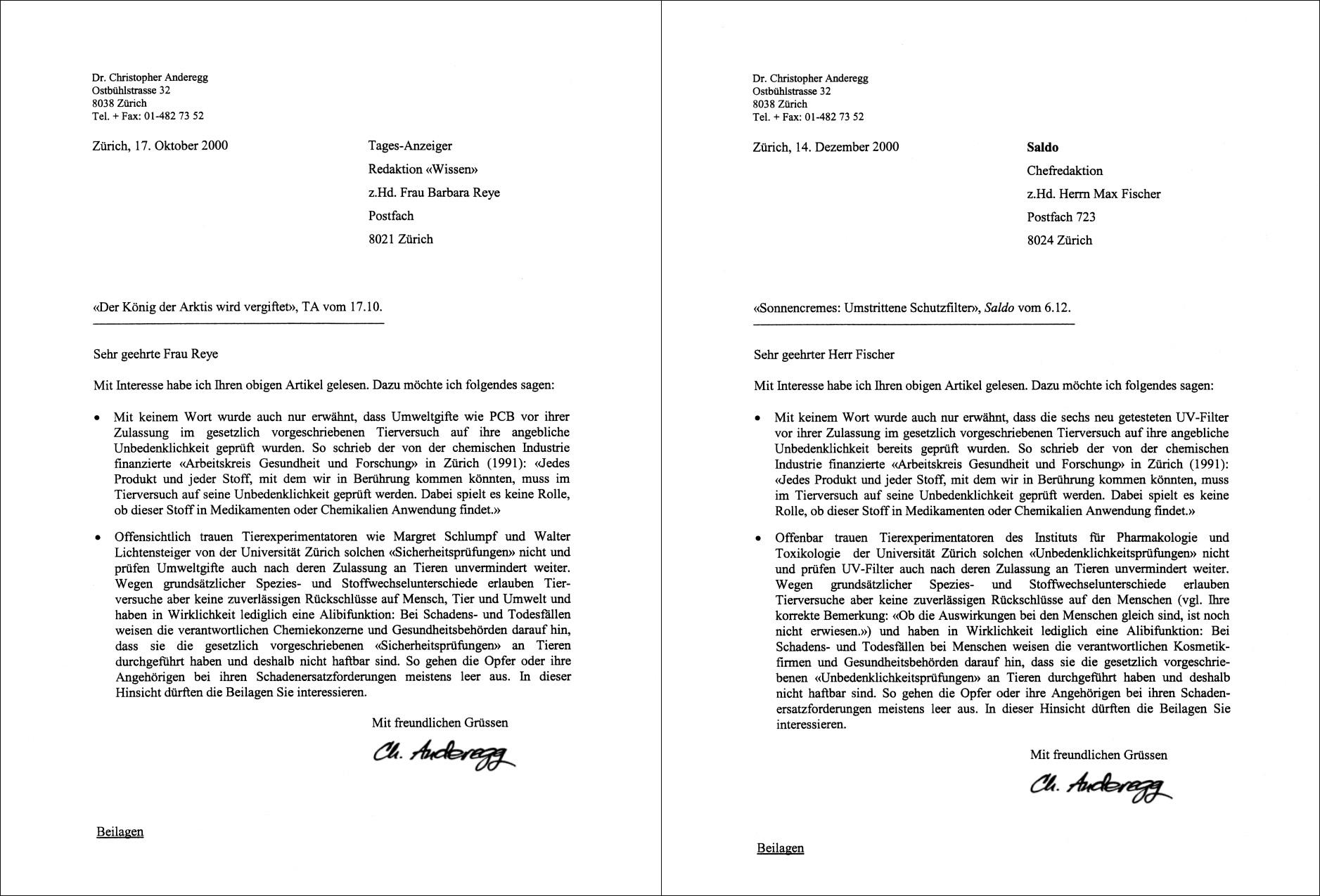 Briefe Und Xd : Verein zur abschaffung der tierversuche briefe an tages